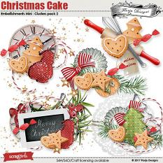 Christmas cake Embellishment Mini: Cluster Pack 2 by florju designs