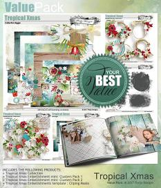 layout using ScrapSimple Embellishment template : Tropical Xmas Clipping Mask by florju designs