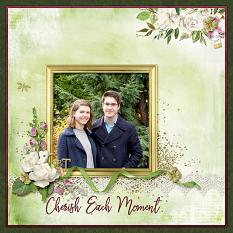 """Cherish Each Moment"" digital scrapbook layout by April Martell"