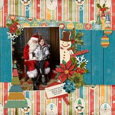 """Sitting on Santa's Knee"" Digital Scrapbooking Layout By Andrea Hutton"