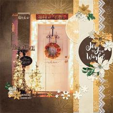 """""""Joy to the World"""" digital scrapbook layout by Andrea Hutton"""