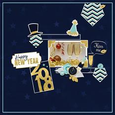 """Happy New Year"" digital scrapbook layout by Geraldine Touitou"