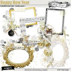 Happy New Year Embellishment Mini: Cluster Pack 1 by florju designs