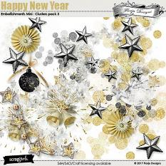 Happy New Year Embellishment Mini: Cluster Pack 3 by florju designs