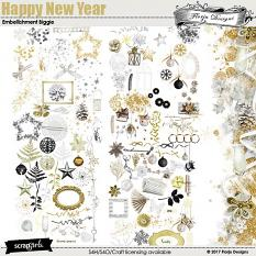 Happy New Year Embellishment Biggie by florju designs