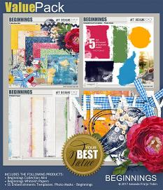 Value Pack: Beginnings Digital Scrapbooking Kit by AFT Designs - Amanda Fraijo-Tobin @ScrapGirls.com | #newyear #artjournaling #printables