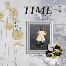 """Time Flies"" digital scrapbook layout by Andrea Hutton"