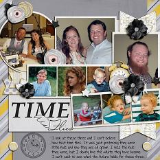 """Time Flies"" digital scrapbook layout by Shauna Trueblood"