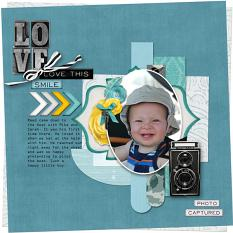 """Love this Smile"" digital scrapbook layout by Debby Leonard"