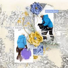"""Chilly Memories"" by AFT Designs - Amanda Fraijo-Tobin snow day digital scrapbooking layout idea"