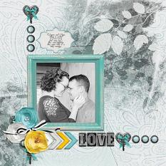 """LOVE"" digital scrapbook layout by Andrea Hutton"