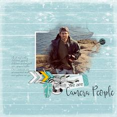 """Camera People"" digital scrapbook layout by Sondra Cook"
