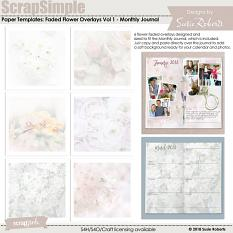 ScrapSimple Paper Templates: Faded Flower Overlays Vol 1