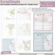 ScrapSimple Paper Templates: Faded Flower Overlays Vol 3