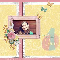 """The One and Only You"" digital scrapbook layout by Shauna Trueblood"