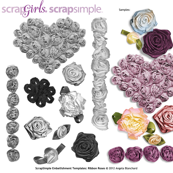 ScrapSimple Embellishment Templates: Ribbon Roses