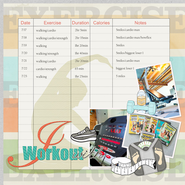 I Workout With layout by Angie Briggs supplies linked below
