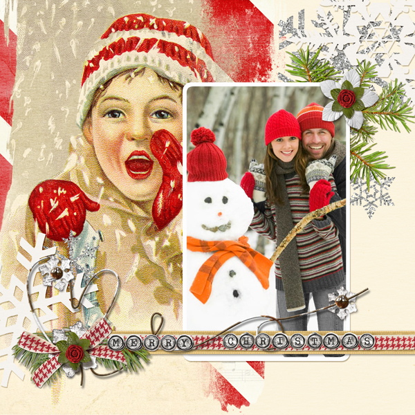 """Merry Christmas"" layout by Angie Briggs (product listed/linked below)"