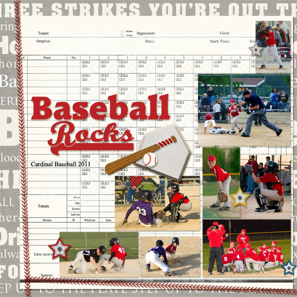 Baseball Rocks layout by Angie Briggs using Batter Up Collection