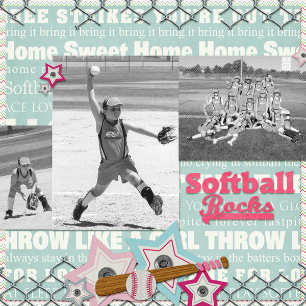 Softball Rocks layout by Angie Briggs using Diamond Diva Collection