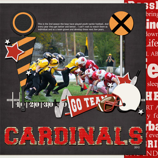 Cardinals layout by Angie Briggs uses First and Goal Collection