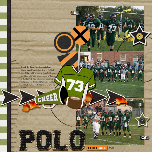 Polo layout by Angie Briggs uses First and Goal Collection