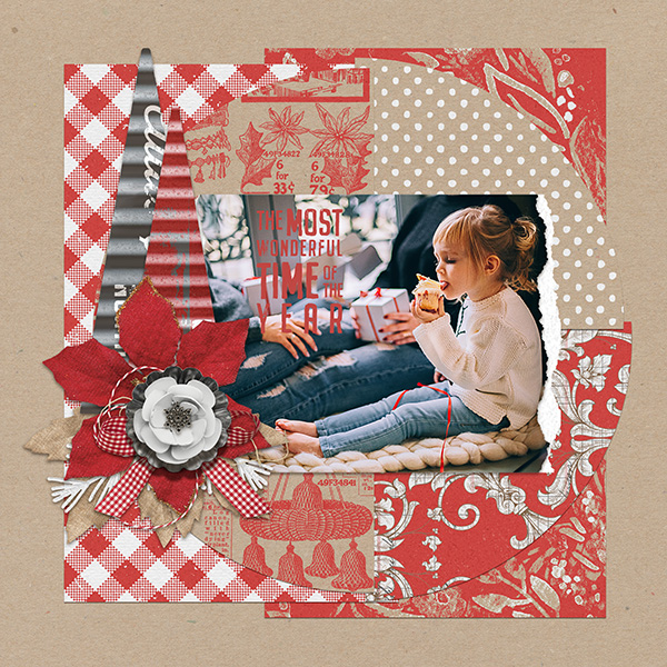 Christmas layout using ScrapSimple Embellishment Templates: Tear It Up Photo 3