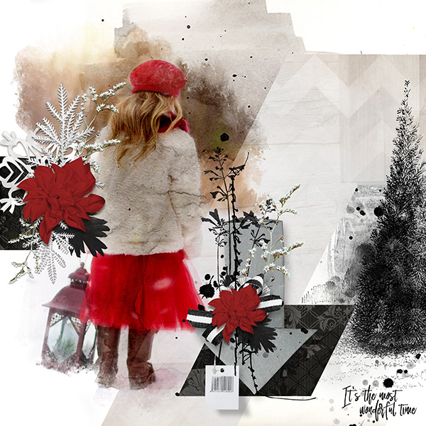 holiday layout using ScrapSimple Embellishment Templates: Freestyle 4