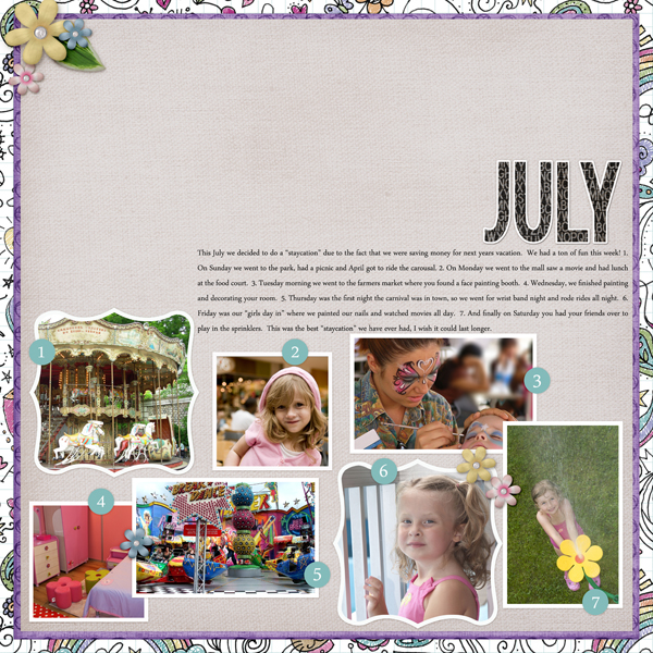 July Layout by Angie Briggs details below
