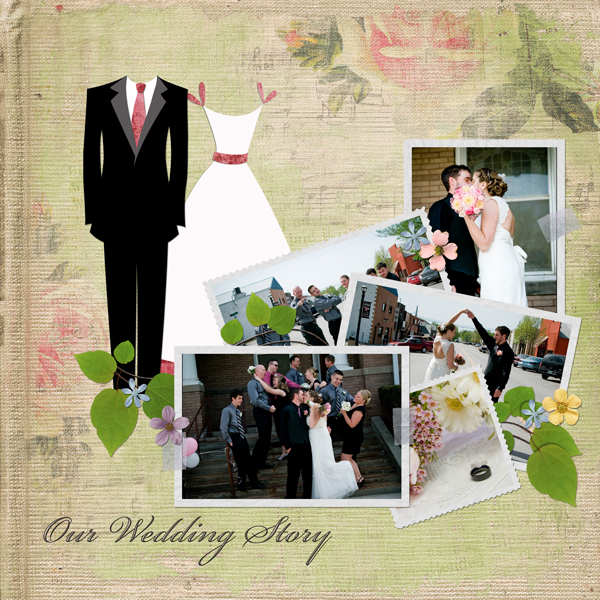 Our Wedding Day layout by Angie Briggs details below