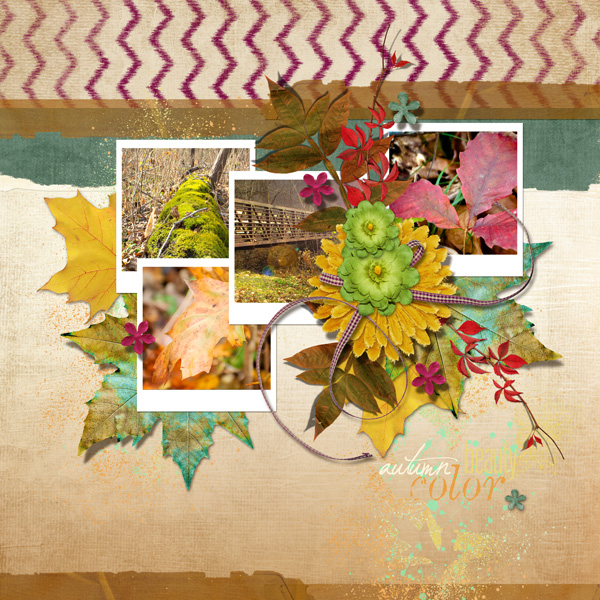 """Autumn Color"" digital layout by Angie Briggs"