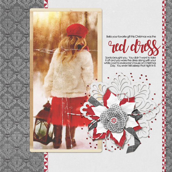Red Dress layout using ScrapSimple Paper Templates: Capturing Moments - Damask