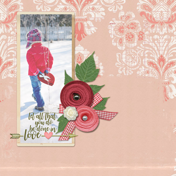 Love layout ScrapSimple Paper Templates: Capturing Moments - Damask