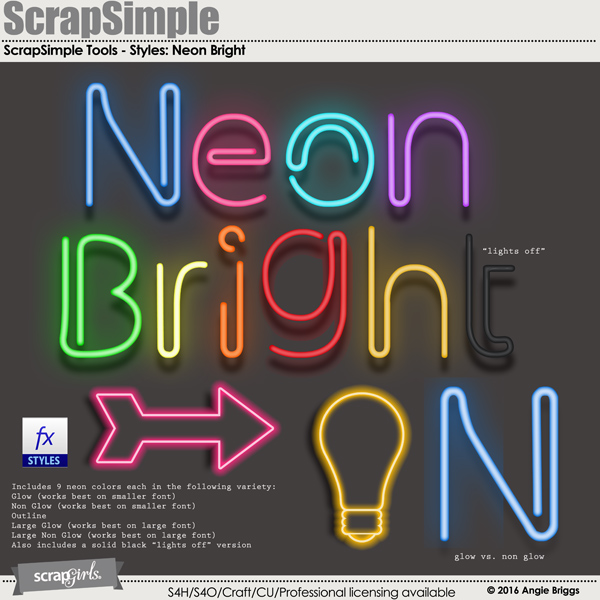 ScrapSimple Tools - Styles: Neon Bright
