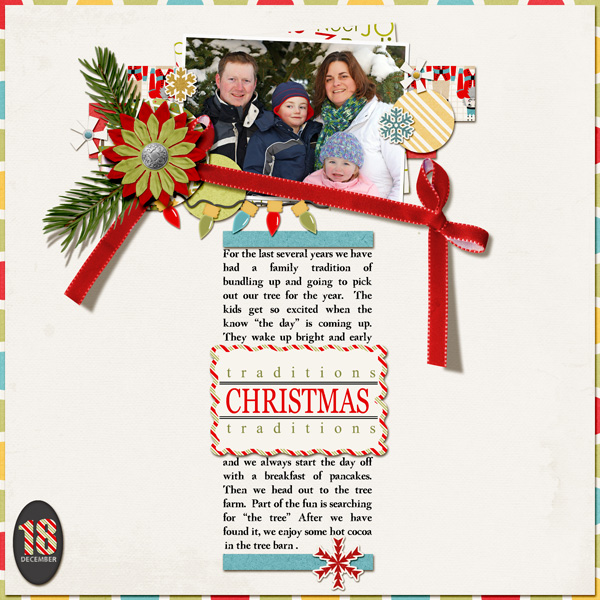 """Christmas Tradition"" Digital scrapbook layout by Angie Briggs (product supply list and links below)"
