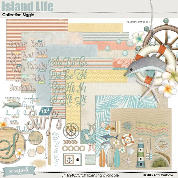 Island Life Collection Biggie, a beach-themed digital scrapbooking kit by Armi Custodio