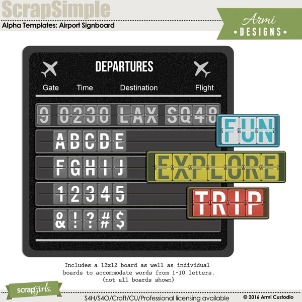 Digital Alpha Templates: Airport Signboard