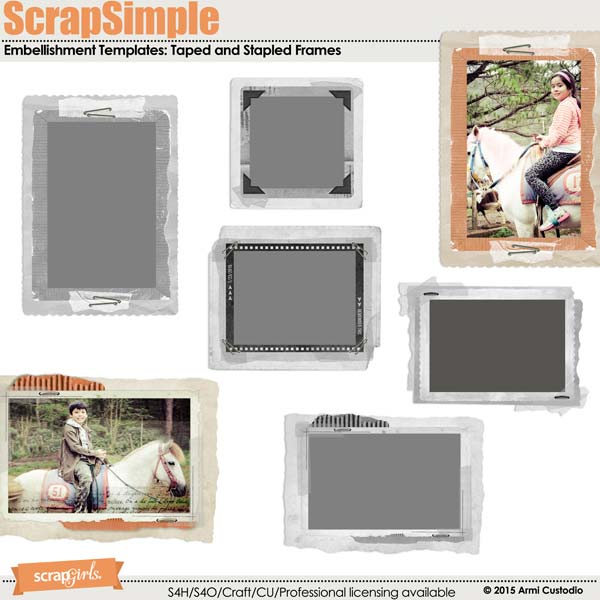 ScrapSimple Embellishment Templates: Taped and Stapled Frames