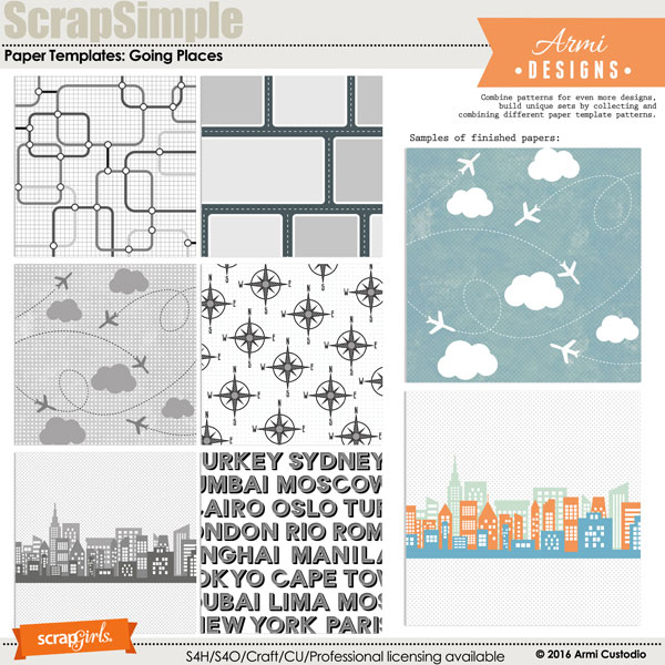 Digital Paper Templates: Going Places