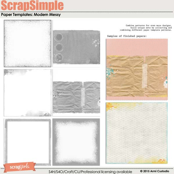 ScrapSimple Paper Templates: Modern Messy