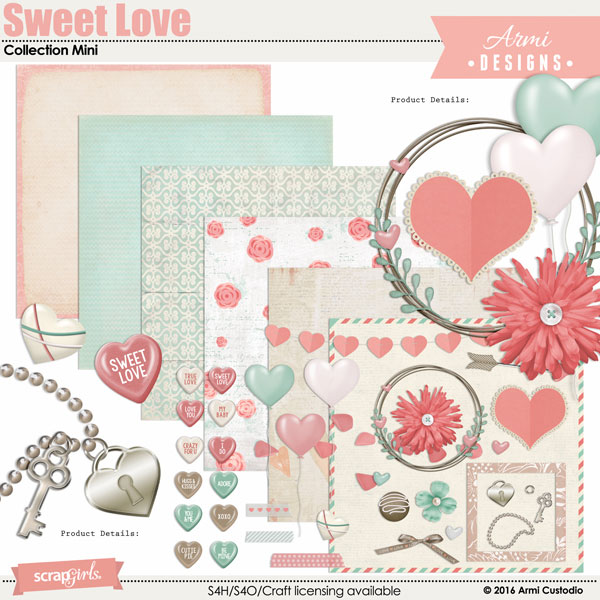 Sweet Love digital scrapbooking kit by Armi Custodio