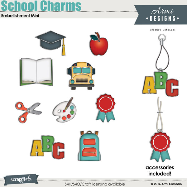 School Charms Digital Scrapbooking Embellishment by Armi Custodio