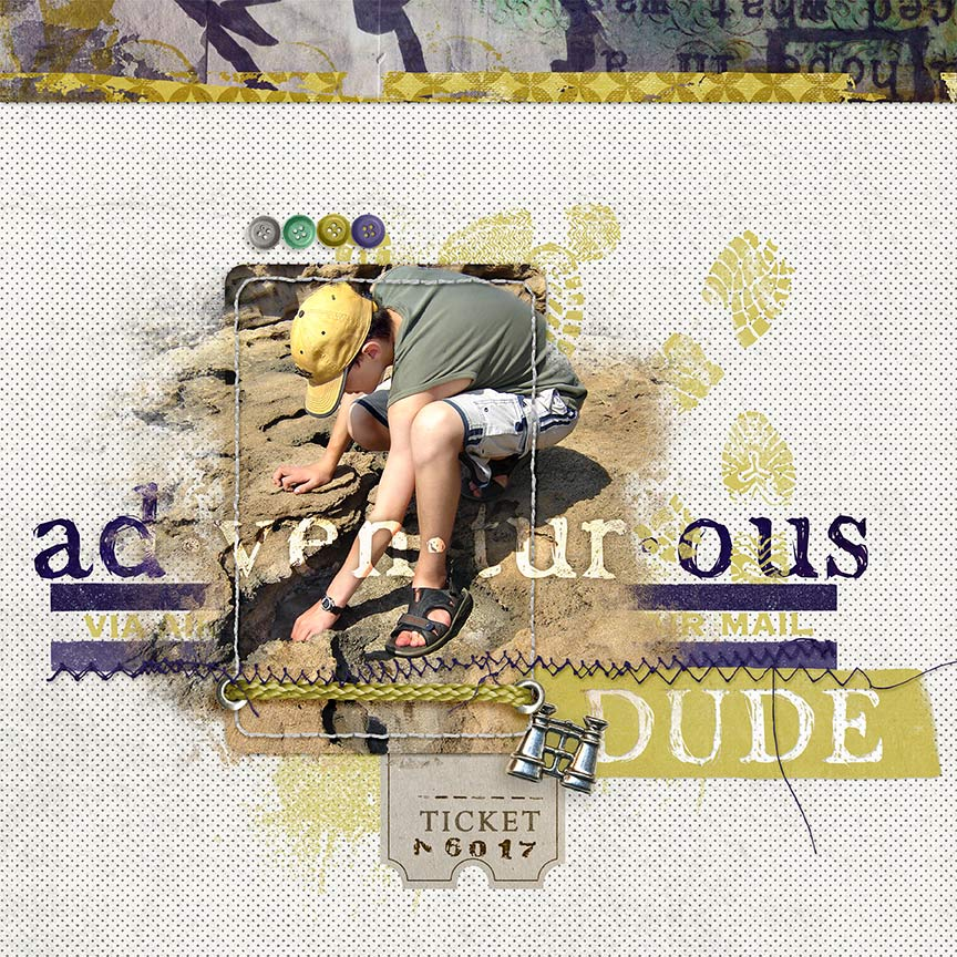 """Adventurous Dude"" #digitalscrapbooking layout by AFT Designs - Amanda Fraijo-Tobin @ScrapGirls.com"