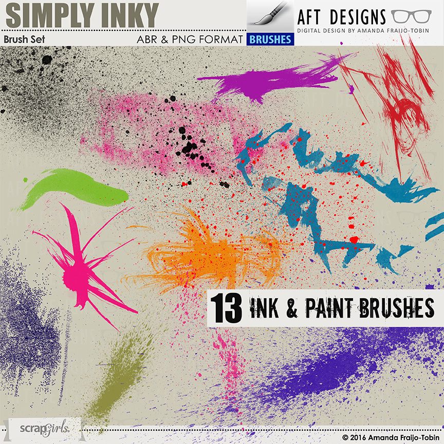 Simply Inky #photoshop Brush Set: #digitalscrapbooking designs #photoshop