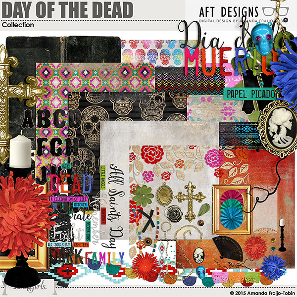 Day of the Dead - Dia de los Muertos - digital computer scrapbooking kit by Amanda Fraijo-Tobin #scrapbooking #digital