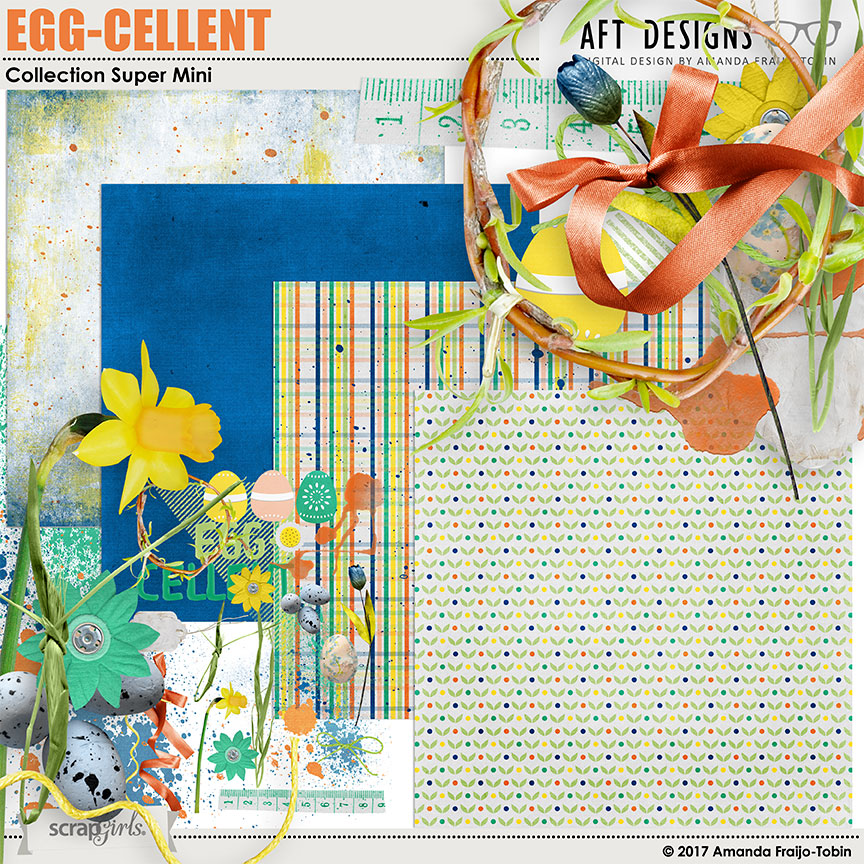 Egg-Cellent Digital Scrapbooking Mini Kit by AFT Designs @ScrapGirls.com | #digitalscrapbooking #digiscrap #scrapbook #easter #aftdesigns
