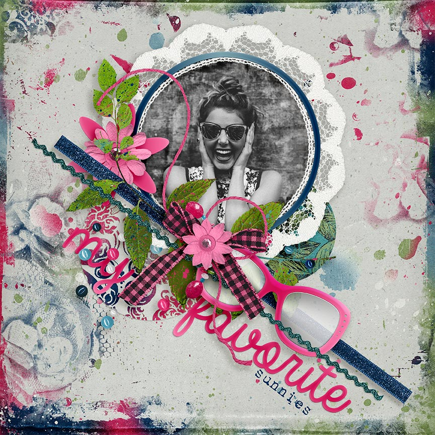 """My Favorite Sunnies"" digital scrapbooking layout by AFT designs Amanda Fraijo-Tobin 