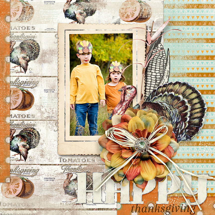 'Happy Thanksgiving' digital scrapbooking layout idea - Soft Harvest Kit by AFT designs