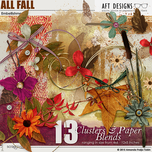 All Fall Cluster And Blends Digital Scrapbooking Embellishments
