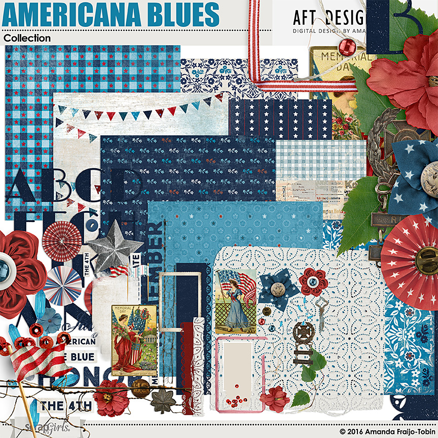 Americana Blues Collection by Amanda Fraijo-Tobin @ScrapGirls | #AFTdesigns #digitalscrapboking #scrapbook #4thofjuly